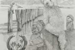 Pentekening Sienna- pointillisme - 40 x 40 cm.