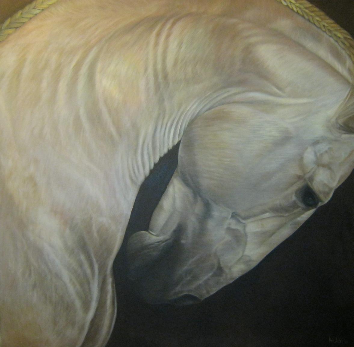 Buiging (subtitel Napoleon), 80 x 80 cm. olieverf - uitgeleend