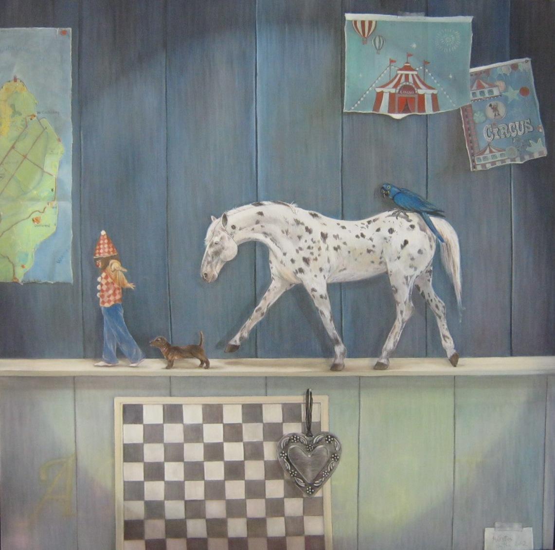 Artiesten, 80 x 80 cm. olieverf - uitgeleend