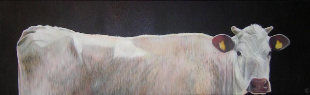 witte witrik, 100 x 40 cm. olieverf