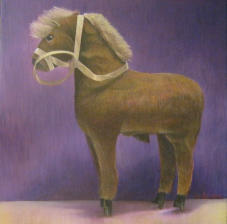 Antiek paardje, 30 x 30 cm., olieverf