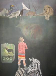 Zoo 90 x 120 cm. olieverf op doek