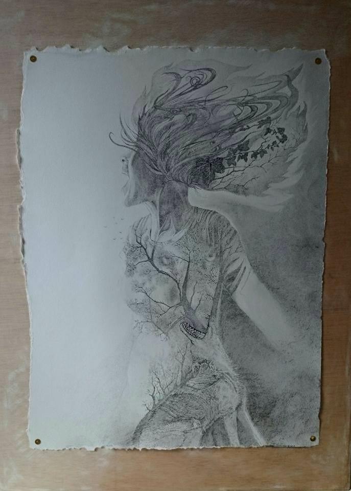 Pentekening op stevig papier - 40 x 60 cm. - verkocht
