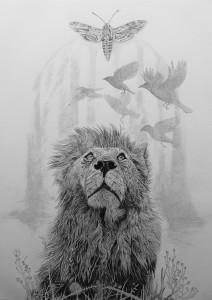 Leeuw - inkttekening - pointillisme 45 x 65 cm bj Galerie Windkracht 13-Den Helder