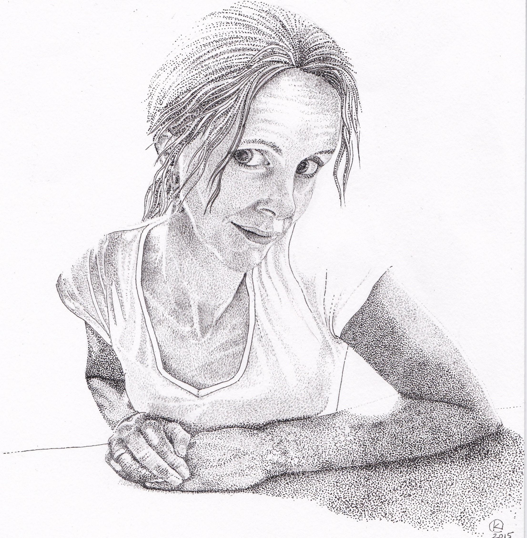 Pentekening - zelfportret - 'veertig' 20 x 20 cm