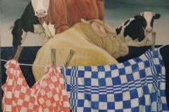 Blauwgras, 100 x 100 cm. olieverf - kunstuitleen