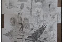 Gedachtenwereld van Jeroen Bosch - papiercollage op hout - 2016 - 60 x 117 cm.