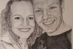 Portretopdracht- pentekening- pointillisme - 30 x 40 cm.